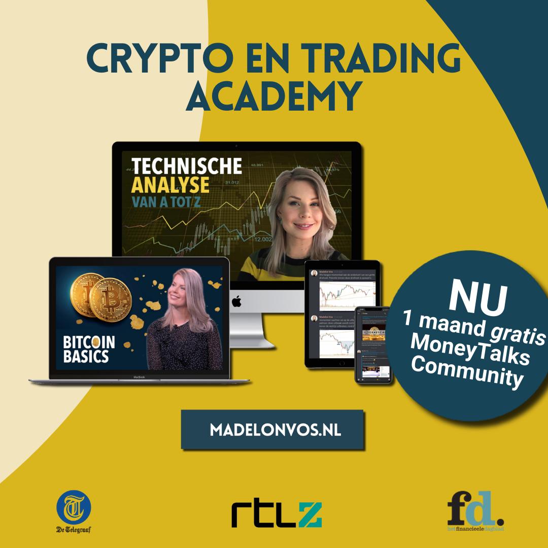 Vierkant banner Crypto en Trading Academy 1080 x 1080